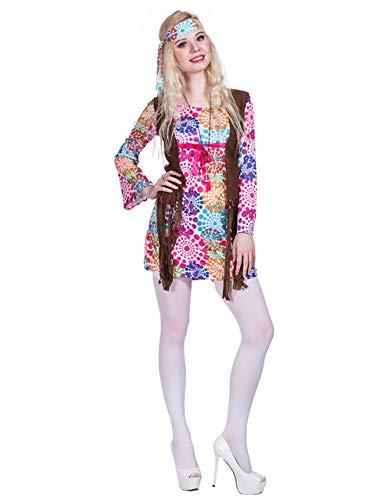 Chendong Fashion Store 60s Hippie Kostuums voor Vrouwen - Fancy Adult Halloween Lange Mouw 1960 Hippie Vrede Liefde Kostuum Jurk