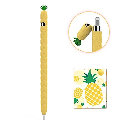 AHASTYLE Funda de silicona para lápiz Apple Pencil 1, diseño de frutas, funda suave, mango de protección, accesorio compatible con Apple Pencil 1ª generación (Apple Pencil 1, amarillo)
