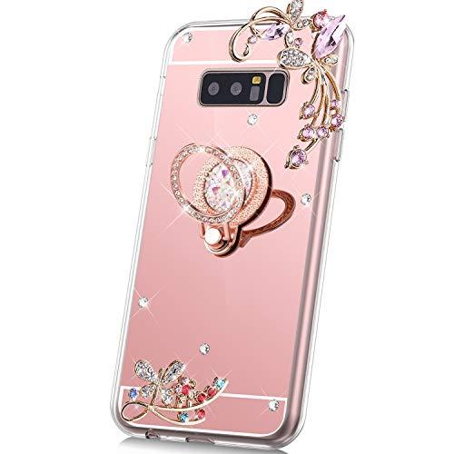 JAWSEU Compatible avec Samsung Galaxy Note 8 Coque Miroir Silicone,Cristal Brillant Bling Glitter Miroir Souple Housse[Support de Bague] Papillon Fleur Paillettes Diamant Case Femme Fille,Or Rose