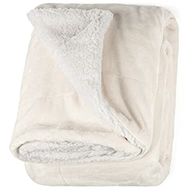 """Life Comfort Microfiber Plush Polyester 60""""x70"""" Large All Season Blanket for Bed or Couch Ultimate Sherpa Throw, Ivory White"""