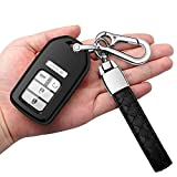 for Honda Key Fob Cover with Leather Keychain Soft Protector Key Shell Case Key Chain Compatible with Civic Accord CR-V HR-V Fit Odyssey JED Crosstour Crider Keyless Smart Key Cover -Black