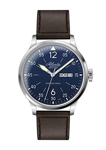 Atlantic - Herrenuhr, analog, Quarz, Lederarmband - 419 046 (blau)