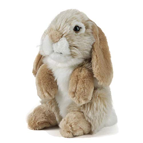 Living Nature AN345B Soft Toy-Plush Pet Sitting Lop Eared Rabbit, Brown (19cm)