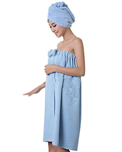 Telo da Bagno in Microfibra per Donna, con Turbante per Capelli - Asciugamano Avvolgente Tipo Pareo, per Spiaggia e Piscina Blu OneSize