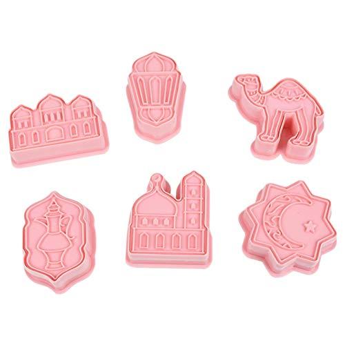 Juego de 6 cortadores de galletas para galletas, moldes de galletas, para fondant, galletas, para Navidad, Acción de Gracias, Eid Al-Fitr, rosa, 15 x 19 cm, material PP