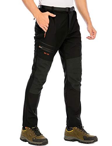 DAFENP Pantalones Trekking Hombre Impermeables Pantalones de Trabajo Termicos Montaña Senderismo Esqui Snowboard Invierno Polar Forrado Aire Libre (L, A Negro)