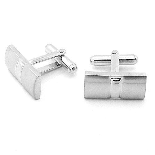 2 Elegantes Gemelos Color Plata de Acero Inoxidable para Traje Boda Trabajo Camisa, Modelo:Mod 16