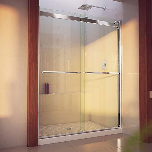 DreamLine Essence-H 56-60 in. W x 76 in. H Semi-Frameless Bypass Shower Door in Chrome, SHDR-636076H-01