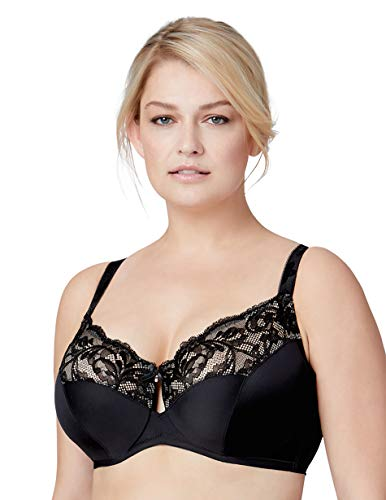 Bramour by Glamorise Women's Full Figure Plus Size Luxury Underwire Low Cut Keyhole Bra-Tribeca #7006, Black, 46L