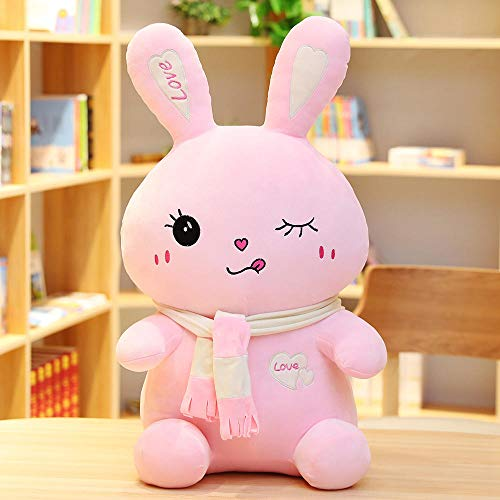 MMSWDT Plush Toy Cute Bunny Girl Bed Sleeping Pillow Children Birthday Gift Siesta Pillow Waist Pad-Pink 01_35Cm