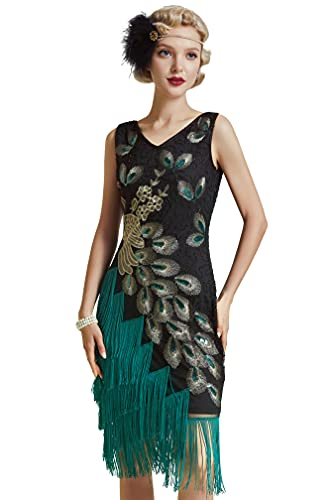 BABEYOND 1920s Vintage Peacock Sequined Dress Gatsby Fringed Flapper Dress Roaring 20s Party Dress (Black with Green Fringe, Medium)