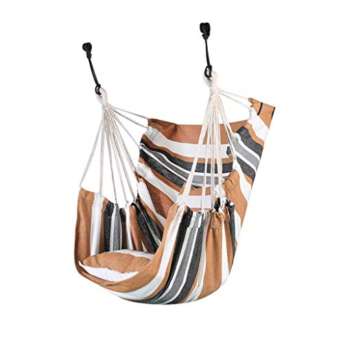 QULONG Swing Stripes Hamaca Silla Colgante, Columpio para Viajes Camping Patio Trasero, Porche, Uso en Exteriores o Interiores, Bolsa de Transporte incluida Hamaca de jardín al Aire Libre