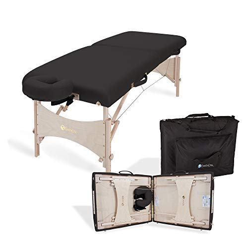 """EARTHLITE Portable Massage Table HARMONY DX – Foldable Physiotherapy/Treatment/Stretching Table, Eco-Friendly Design, Hard Maple, Superior Comfort incl. Face Cradle & Carry Case (30"""" x 73"""")"""