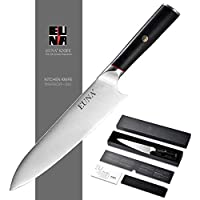 EUNA 8 Inch Professional High Carbon Stainless Steel Chef Knife with Sheath & Gift Box (Black)