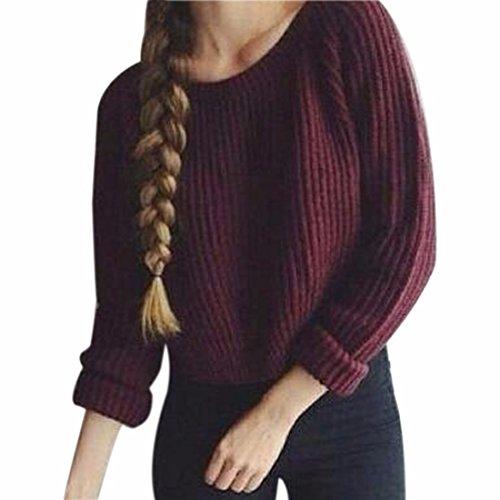 QIYUN.Z Frauen Winter/Herbst Pullover Pullover Rundhals Kurzen Strick Hot, Rotwein,S