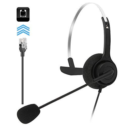MKTBA Schnurgebundenes Telefon-Headset, Telefon-Headset mit Rauschunterdrückung Mikrofon, Headsets für Büro-Telefone, Headset für alle festen Telefone (grau)