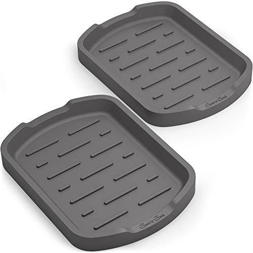 GOOD TO GOOD Silicone Sponge Holder - Soap Tray - Sink Organizer Set of 2 - for Stove Spoon holder, Kitchen Sponges, Soap Dispenser, Scrubber, and Other Dishwashing Accessories - Grey