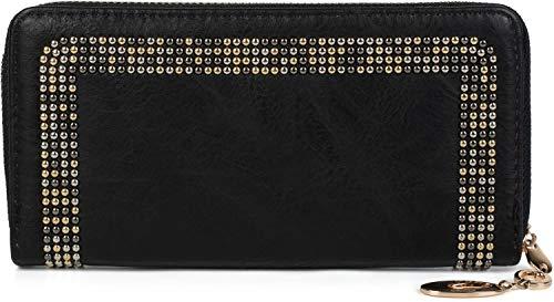 styleBREAKER Damen Geldbörse mit kleinen Nieten, Reißverschluss, Portemonnaie 02040116, Farbe:Schwarz