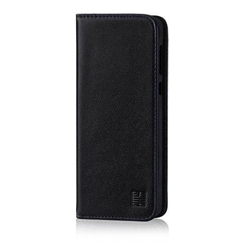 32nd Klassische Series - Lederhülle Hülle Cover für Nokia 7 Plus (2018), Echtleder Hülle Entwurf gemacht Mit Kartensteckplatz, Magnetisch & Standfuß - Schwarz