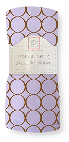 SwaddleDesigns Marquisette Swaddling Blanket, Premium Cotton Muslin, Mocha Mod Circles on Lavender Now $9.50 (Was $15.00)