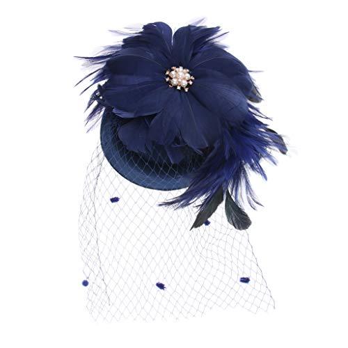 Frauen, Die Schleier-Feder-Haar-Klipp Fascinator Hut-Cocktailparty Wedding Sind - Blau