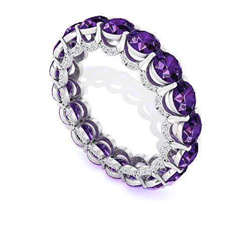 Anillo de eternidad de amatista redondo, único diamante certificado IGI, anillo de boda Art Deco, anillo de diamantes de claridad de color IJ-SI, 10K Oro blanco, Size:EU 47