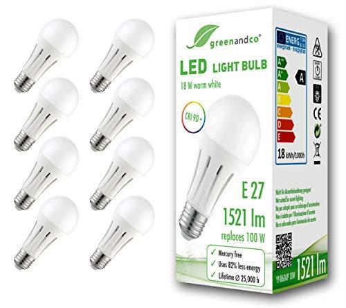 8x Bombilla LED greenandco® IRC 90+ E27 18W (corresponde a 100W) opaca...