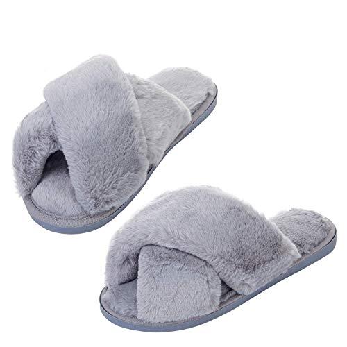 Franmvenzt Pantofole con Pelliccia Donna Morbido Comode Flip Flops Antiscivolo Caldo Peluche Autunno Inverno Ciabatte con Punta Aperta