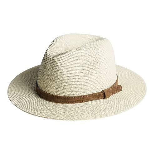 JSJJAUJ Sombrero para el Sol Sombrero de Panamá Sombrero de Verano Sombreros para Mujer Hombre de Playa Hombre de Paja para Hombres Protección UV (Color : New Beige Hat, Size : L)