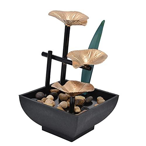 Weiyo Fuente de Mesa, Fuente de Escritorio de Agua Corriente de Rocalla Paisaje Acuático Feng Shui para La Decoración del Dormitorio de la Oficina en Casa Kit de Cascada de Meditación Zen(EU)