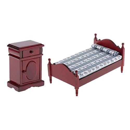 sharprepublic Miniatur Puppenhaus Nachttisch, Doppelbett mit Decke und Kissen, Zubehör für 1:12 Puppenhaus Schlafzimmer