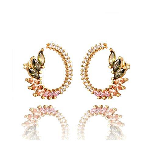 Pendientes de tuerca de circonita arcoíris con diseño de estrella para mujer de oro CZ Pendientes de amor sonrisa flor Pendientes de joyería de regalo de Navidad-E1209-G-Plata