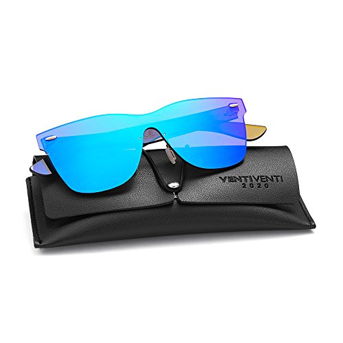 2020VentiVenti Vintage Retro Sunglasses for Cool Men Women Square Mirror Lens Rimless Frame 56mm UV400 Protection with Sun Glasses Case PC1601C03 (Blue,Revo)