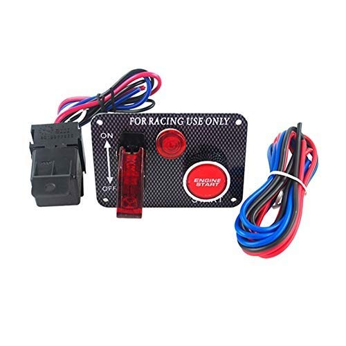 Baodanh - Kit de interruptor de encendido universal de 12 V para coche de carreras, de fibra de carbono