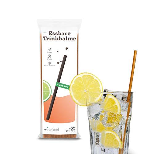 Strohhalm von Wisefood - Essbarer Trinkhalm zur Alternative von Glasstrohhalm Einweg-Plastik-Strohhalm Edelstahlröhrchen - geeignet für Kaffee Cocktail Eistee - nachhaltig & Plastik-frei - braun