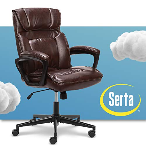 Serta Hannah Microfiber Office Chair with Headrest Pillow, Adjustable Ergonomic with Lumbar Support, Soft Fabric, Bonded Leather, Brown