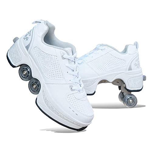 Fbestxie Roller Skates, verstellbar, Inlineskates für Kinder, vier Rollen, Mädchen, Schuhe mit Rollen, Deform Wheels Skates Kick Roller Shoe, Walking Skates Männer Frauen, Weiß - weiß - Größe: 39 EU