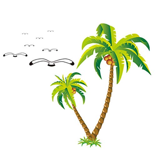 Glass Door Bedroom Wall Stickers for Bathroom Green Plant Coconut Tree and Seagull Stickers 60 * 90cm