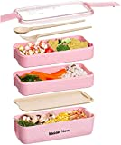 Bento Japanese Box Lunch Box, 3-in-1 Compartment, Wheat Straw, Eco-Friendly Bento Lunch Box Meal Prep Containers with Fork, Spoon, Dividers, for Kids and Adults