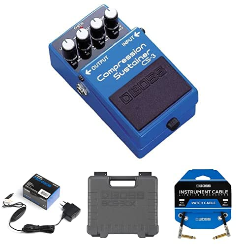 Paquete de pedal BOSS CS-3 con adaptador PSA, pedalera de efectos de guitarra ultraportátil BCB-30X y tres cables de conexión de pedal