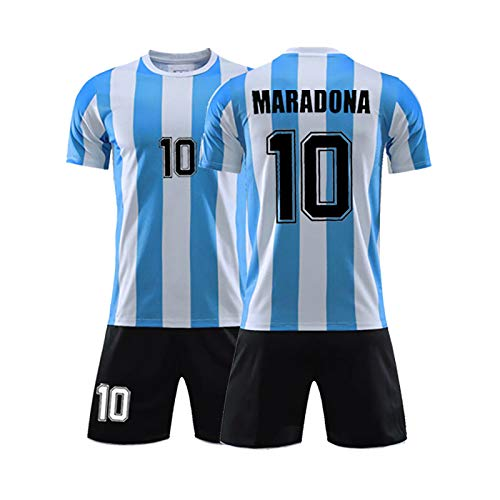 DULI Camisetas de fútbol para Hombre, el Traje de Camiseta de fútbol para Adultos No.10 Maradona, el campeón de Argentina en los años 86, Nuestra Juventud-XXL