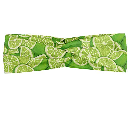 Lunarable Lemon Headband, Lime Tropic Citrus Bitter Sour Taste Enjoy Print, Elastic and Soft Women's Bandana for Sports and Everyday Use, Lime Green Pastel Green