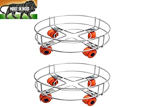 Heavy Stainless Steel Cylinder Trolley with Wheels(Pack of 2) | Gas Trolly/LPG Cylinder Stand(Made in India