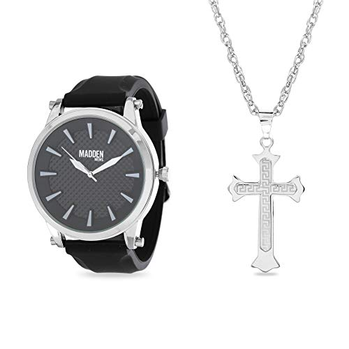 Steve Madden Rhodium Plated and Black Band Watch with Cross Pendant Necklace Jewelry Set For Men