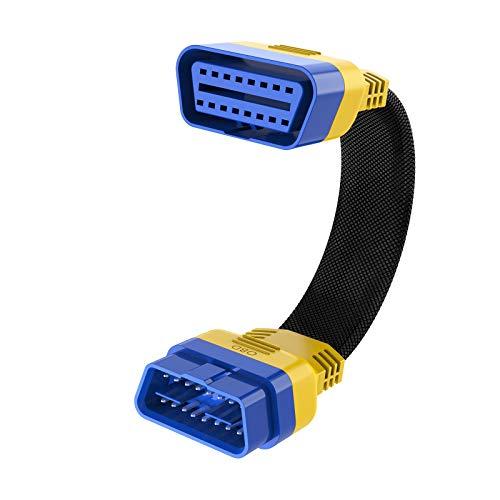 OURANTOOLS OBDII 16-poliger Stecker auf Buchse, Verlängerungskabel, Adapter, Auto-OBD-Diagnose-Verlängerungskabel, OBD2-Anschluss, 20 cm (dickes Nylon-Material)