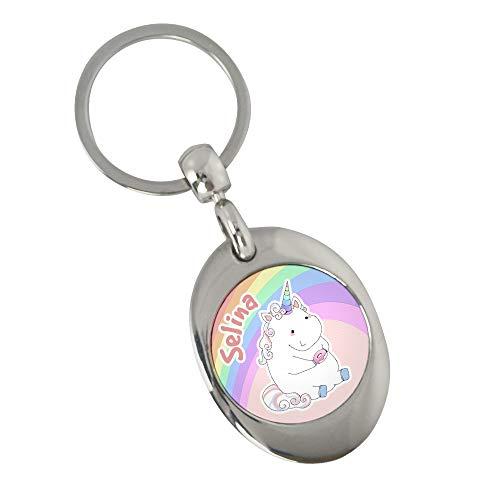 Schlüsselanhänger mit Namen Selina und Einhorn-Motiv in Pastell-Farben | Namens-Anhänger mit Einkaufs-Chip für Kinder und Erwachsene