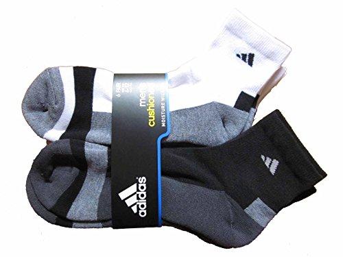 6 Pair Mens Adidas Quarter Crew Cushioned Socks (Black/White/Gray/Charcoal), 12-6