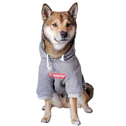 ChoChoCho Pup Dog Hoodie Pet Clothing Cat Hoodies Stylish Streetwear Sweatshirt Gray Tracksuits Outfit for Dog Cat Puppy Small Medium Large (2XL)