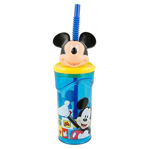 Mouse-19066 Mickey Mouse - Vaso plastico con figurita 3d, tapa y pajita 350...