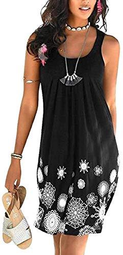 TBSCWYF Vestito Senza Maniche Donna Estate Spiaggia Casual Abito Schienale Copricostume Mare Vestiti Taglie Forti da Cocktail Cerimonia Partito Cover Up Dress Senza Maniche Beachwear